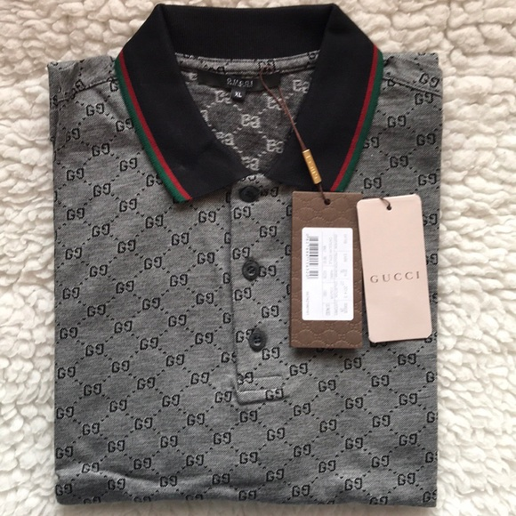 a528cdd5 GUCCI Shirts | Gg Print Mens Polo Shirt Size Xl Nwt | Poshmark
